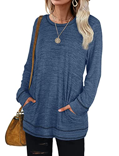 Womens Long Sleeve Tops Casual Loose Blouses Dressy Shirts with Pockets Navy XXL