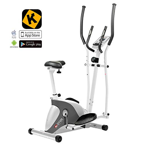 AsVIVA 2in1 Elliptical Cross Trainer C16 with Fitness app & Bluetooth Interface, Exercise Bike, Hometrainer with Pulse receiver and Hand Pulse Sensors, Tablet Holder, 10 kg Flywheel | white