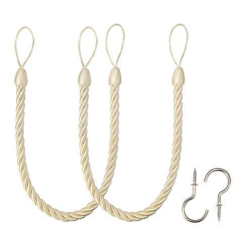 BEL AVENIR Curtain Ropes Tiebacks Tie-Backs, Curtain Handmade Holdbacks with 2 Metal Screw Hooks (Beige, 2pack)