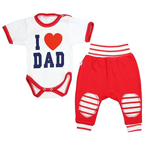 TupTam Unisex Baby Bekleidung mit Spruch 2er Set, Farbe: I Love Dad Rot, Größe: 56