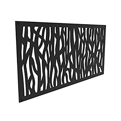YardSmart 73004791 Decorative Screen Panel 2X4-Sprig, Black