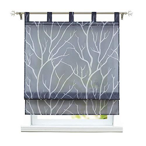 Willlly rolgordijnen met oogjes voor keukengordijnen, shirred Curtains, transparant, loop rolgordijnen, modern, bruin, 60 x 140 cm, 1 stuk BxH 80x140cm Grau/Schlaufen