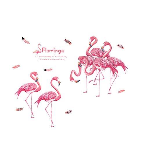 MICHAELA BLAKE Pink Flamingos Wandtattoo PVC Tapeten Vinyl Papiertapeten entfernbarer Wand-Aufkleber für Kinder Kinderzimmer Schlafzimmer Wohnzimmer
