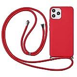 Yoedge Funda con Cuerda para Huawei Honor 6A 5 Pulgadas Flores Carcasa de Suave TPU Silicona Case con Colgante Cordon Colgar Collar Correa de Cuello Cadena Cordón para Honor 6A el teléfono, Rojo