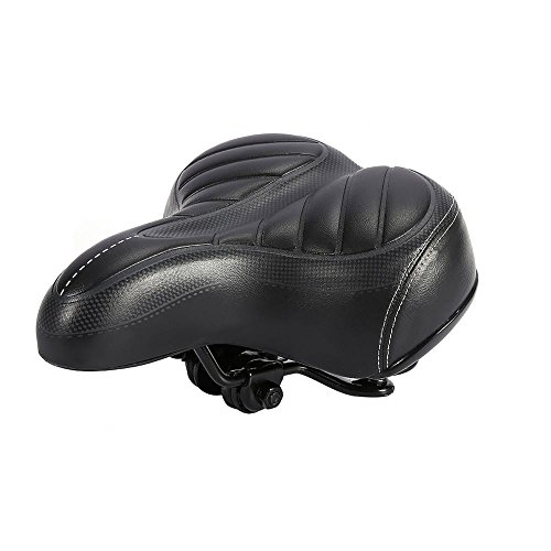Bike Saddle Bicycle Seat with Shockproof Spring & Ultra Soft Cushion for Wide Big Bum, Mountain Road Sport Comfort Pad Seat for Women & Men, High Elasticity PU
