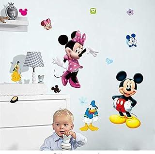 hfwh Dibujos Animados Mickey Minnie Mouse Bebé Casa Calcomanías Pared Pegatinas para Niños Habitación Bebé Dormitorio