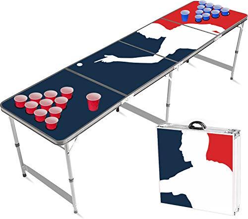 Offizieller Playerholes Beer Pong Tisch mit Löchern Set   Full Beer Pong Pack   Inkl. 1 Beer Pong Tisch + 120 53cl Becher (60 Rot & 60 Blau) + 6 Ping-Pong-Bälle   Trinkspiele   OriginalCup®