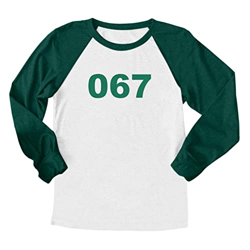 Squid Game Merch 001 101 067 218 456 2021 TV Cosplay disfraz de manga larga camiseta de puntada para hombre y mujer tops cuello redondo Cosplay parte superior camiseta, E, M