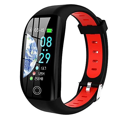 Pulsera Inteligente GPS Distancia Fitness Activity Tracker IP68 Monitor de sueño a Prueba de Agua a Prueba de Agua Monitor de la Banda Inteligente (Color : Red)