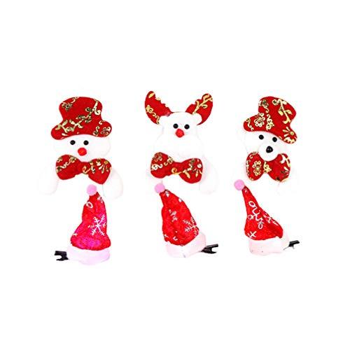 STOBOK Broche de Natal de LED, chapéu de Papai Noel, Presilhas de cabelo, broche de pelúcia, brindes de festa de Natal