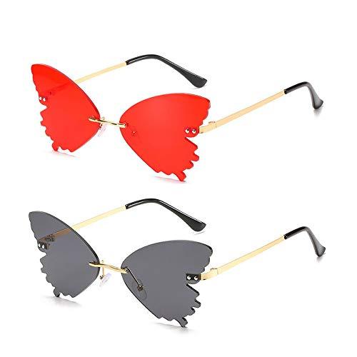 Mariposa Gafas Vintage, 2 Piezas Gafas con Forma Mariposa, Mujeres Gafas Sol de Mariposa, Moda Metal Gafas Vintage, para Mujeres Hombres Deportes al Aire Libre Conducción Citas en la Playa