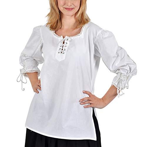 Elbenwald Mittelalter Bluse mit Schnürung und Puffärmeln in Einheitsgröße für Damen weiß