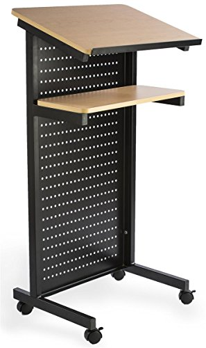 Mobile Portable Presentation Lectern, Locking Wheels, with Shelf (Steel and MDF Wood)