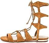 SCHUTZ Erlina Gladiator Sandal Cognac Tan Suede Tie Up Flat Gladiator Sandals (6, Brownie)