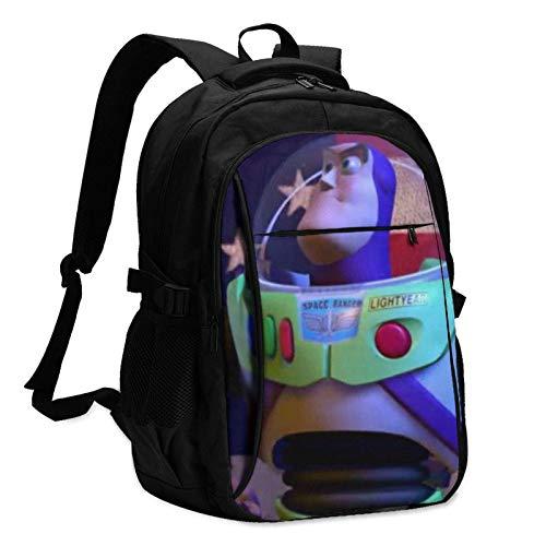 XCNGG Mochila USB con múltiples bolsillos, mochila informal, mochila escolar Toy Story Buzz Lightyear America Flag Laptop Backpack Anti Theft Water Resistant Durable Computer Bag USB Charging Port Fit