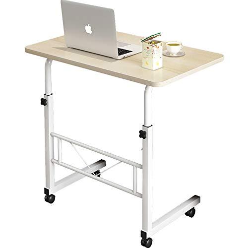 CLEAVE WAVES C-vormige verstelbare bureau laptop bureau tafel met 4 wielen flexibele bijzettafel Snack tafel voor bed 80x40cm Whitemaple