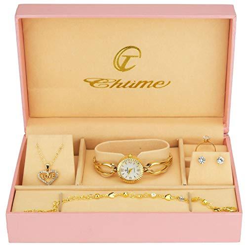 Geschenkset Damen Armbanduhr weiß- Schmuck Set- Halskette-Ring- Ohrringe - Armband