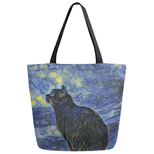 Lunar Starry Night Cat Extra Large Grocery Bag Van Gogh Galaxy Space Planets Stars Reusable Canvas Tote Bag Casual Beach Shopping Tote Heavy Duty Washable Shoulder Bags Handbag with Handles