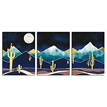 sechars 3 Panel Canvas Wall Art Abstract Golden Cactus Art Prints Mountain Desert Night Moon Landscape Pictures for Bedroom Contemporary Nordic Style Artwork Framed Ready to Hang Each Piece 12x16inches