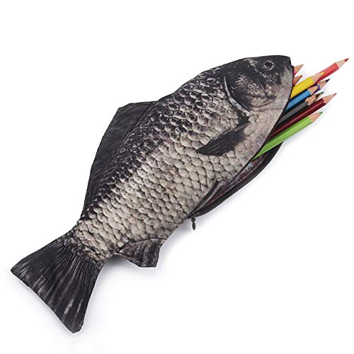 Uteruik - Estuche para lápices, bolígrafos y maquillaje 3D con cremallera, diseño de pez