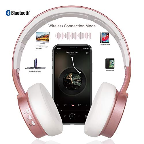 Bluetooth Headphones, Riwbox XBT-90 Foldable Wireless Bluetooth Headphones Over Ear Hi-Fi Stereo Wireless Headset w   ith Mic/TF Card and Volume Control Compatible for PC/Cell Phones/TV/ipad (Rose