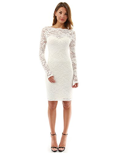 PattyBoutik Women Boatneck Sweetheart Floral Lace Dress (Off-White X-Large)