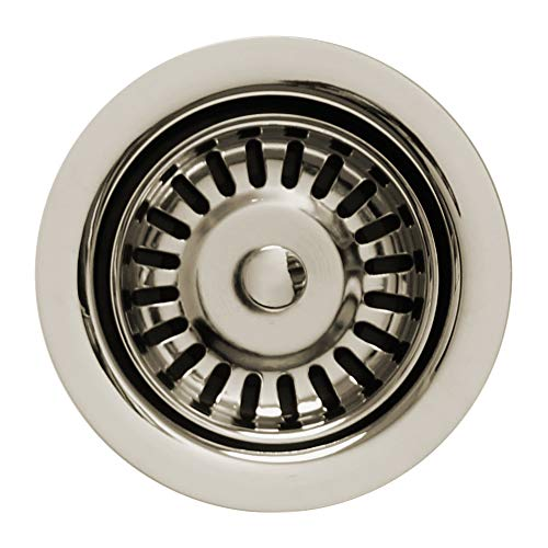 "Whitehaus Collection WH202-PN 3 1/2"" Waste Matching Basket Strainer Sinks Garbage Disposal Trim for Deep Fireclay Application, Polished Nickel"