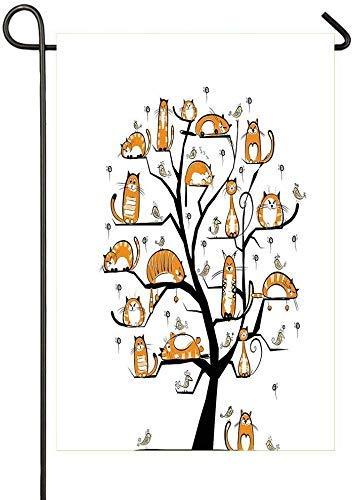 Drapeau de jardin drapeau de maison unisexe décoration drapeau double face 12,5 'x 18 pouces arbre de chat décoratif en plein air avec des oiseaux foule nature moelleuse pure race créative humoristiqu