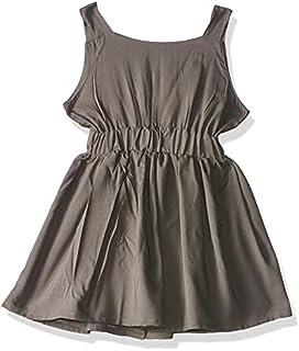 Giggles Sleeveless Elastic Waist Plain Cotton Dress for Girls