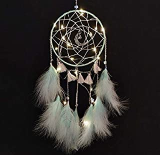Meticci LED Dream Catcher, LED Dream Catchers, Dream Catcher, Dream Catchers Handmade Traditional Feather Hanging Home Wall Decoration Décor Ornament Craft Native American Style (Green)