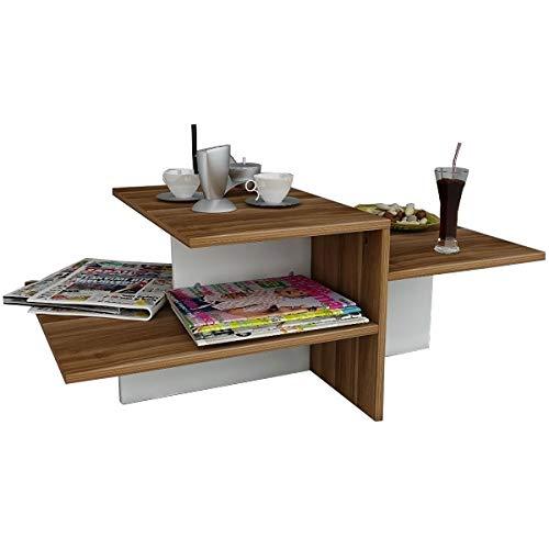 WHISPER Table basse de salon - Blanc / Noyer - Table de canapé - Bout de Canapé - Table café moderne dans un design à la mode