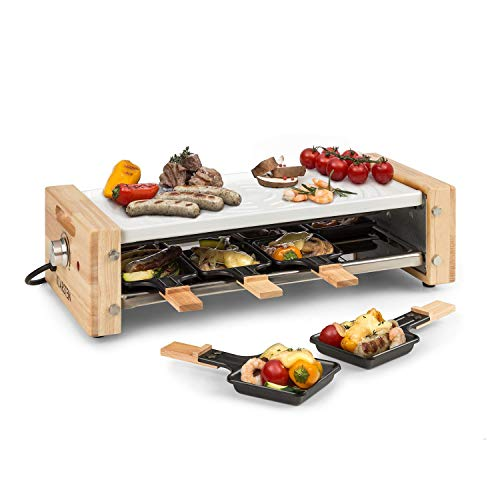 KLARSTEIN Chateaubriand Nuovo - Raclette, 1200W, plaque de cuisson en aluminium 39 x 18cm, thermostat continu, 8 personnes, poêlons à raclette en acier, revêtement antiadhésif - blanc