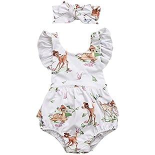 SHOBDW Girls Clothing Sets, Newborn Baby Girl Cotton Lattice Bowknot Clothes Bodysuit Romper Jumpsuit Outfit Set (6-12 Months, 4-Beige)