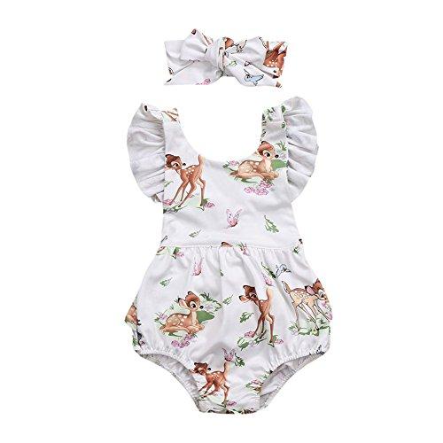 sunnymi 2 TLG Baby Mädchen Hirsch Strampler + Stirnband Outfits Kleidung Sommer Für 3-18 Monate (Beige, 6 Monat)
