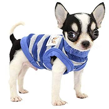 Lophipets 100% Cotton Striped Dog Shirts for Small Dogs Chihuahua Puppy Clothes Tank Vest Tee-Blue and Gray Strips/XXS