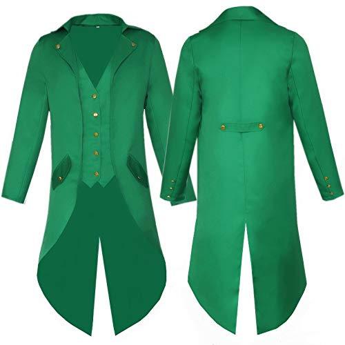Color SóLido Ropa Larga Punk Retro Esmoquin Uniforme Vestido Abrigo Navidad Halloween