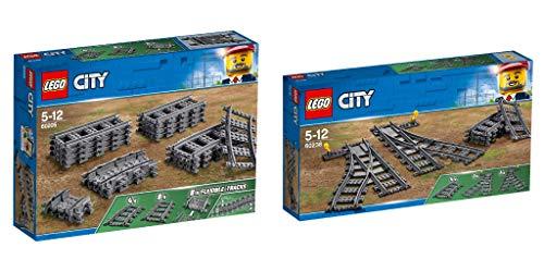 Steinchenwelt Lego City 2er Set: 60205 Schienen + 60238 Weichen für die ferngesteuerte Eisenbahn