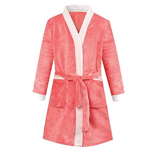 Perilla fire - Pijama de Terciopelo para bebé, para niñas, Ropa de Adolescentes, Pijama a Rayas, Bata de baño para niños - Rojo - 4 años