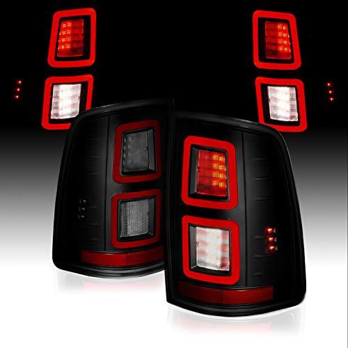 AmeriLite Smoke FULL Function LED Light Bar Tail Lights Set For 2009-2018 Dodge Ram 1500 2500 3500 Pickup Truck - Passenger and Driver Side