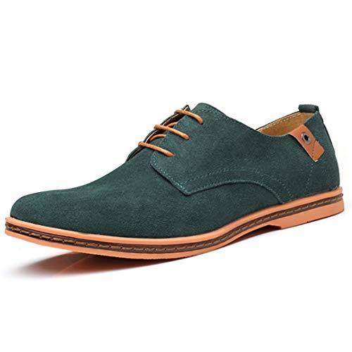 AARDIMI Schnürhalbschuhe Herren Derby Oxfords Modische Anzug Schuhe Lace ups Herren Business Schuhe Hochzeit Schuhe (41 EU, Grün-482)