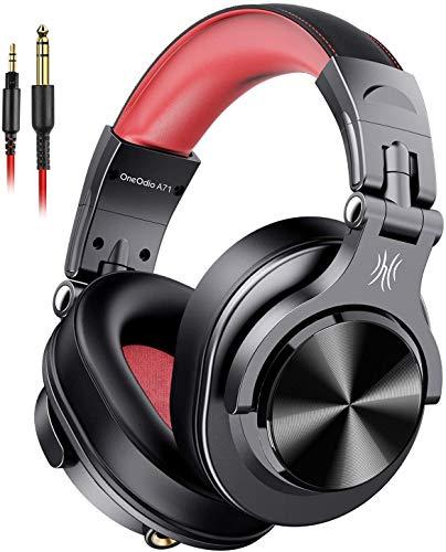 Fone de Ouvido DJ OneOdio A71 Fusion Black/Red Falante 40 mm Neodimio Conexão P2 ou P10 Com Microfone, Cabo Destacável, Grande