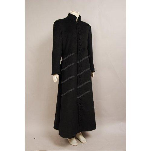 Matrix Neo Graben Mantel Kostüm schwarz Wolle Stoff