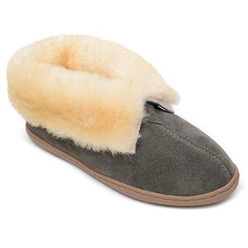 Minnetonka Sheepskin Ankle Boot Grey Suede 10 M