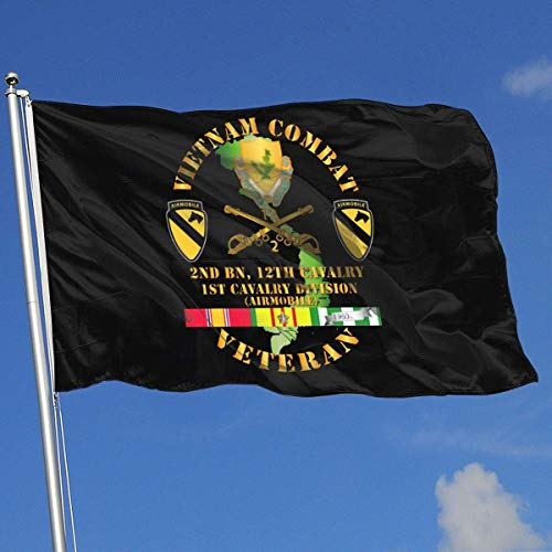Gsixgoods Flagge Vietnam Combat Cavalry Veteran W 2nd Bn 12th Cav DUI - 1st Cav Div 3x5 Foot Flags Outdoor Flag 100% Single-Layer Translucent Polyester 3x5 Ft