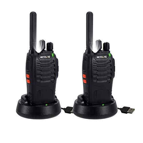 Retevis H777 Plus Walkie Talkie, Walkie Recargable, Linterna LED, PMR446 Walkie-Talkie Licencia Libre, VOX, Squelch, 16 Canales, Apto para Familia, Picnic, Esquí (Negro, 2 Piezas)