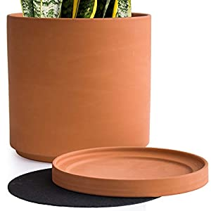 Large 10 Inch Terracotta Plant Pot with Drainage Hole and Saucer, Round Cylinder Planter Pot for Indoor Plants