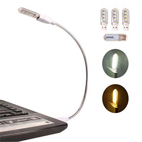 Ebyphan Flexible Luz USB, Mini Luz LED para Teclado Portatil, Lámpara LED USB para Ordenador PC, Luz de Lectura (Cuello de Cisne Ajustable + 2 Luces Blancas + 2 Luces Amarillas)
