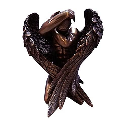Estátua de Ajoelhar Anjo Caído – Ornamento de Resina para Decoração de Jardim e Casa