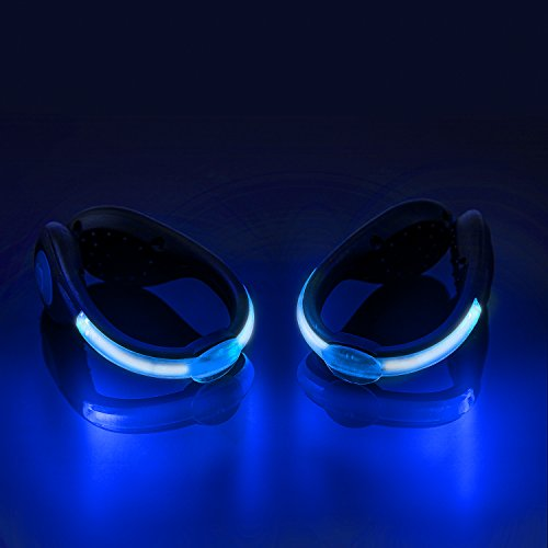 SLDHR LED Shoes Clip Lights USB Charging for Night Running Gear, Color Changing RGB Strobe and Steady Color Flash Mode, Safety Clip Lights for Running, Jogging, Walking, Biking(One Pair) (Blue)