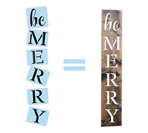 Barn Star Be Merry Christmas Porch Sign Stencil Kit, Reusable, Paint Your Own Wood Sign